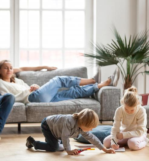 family in living room
